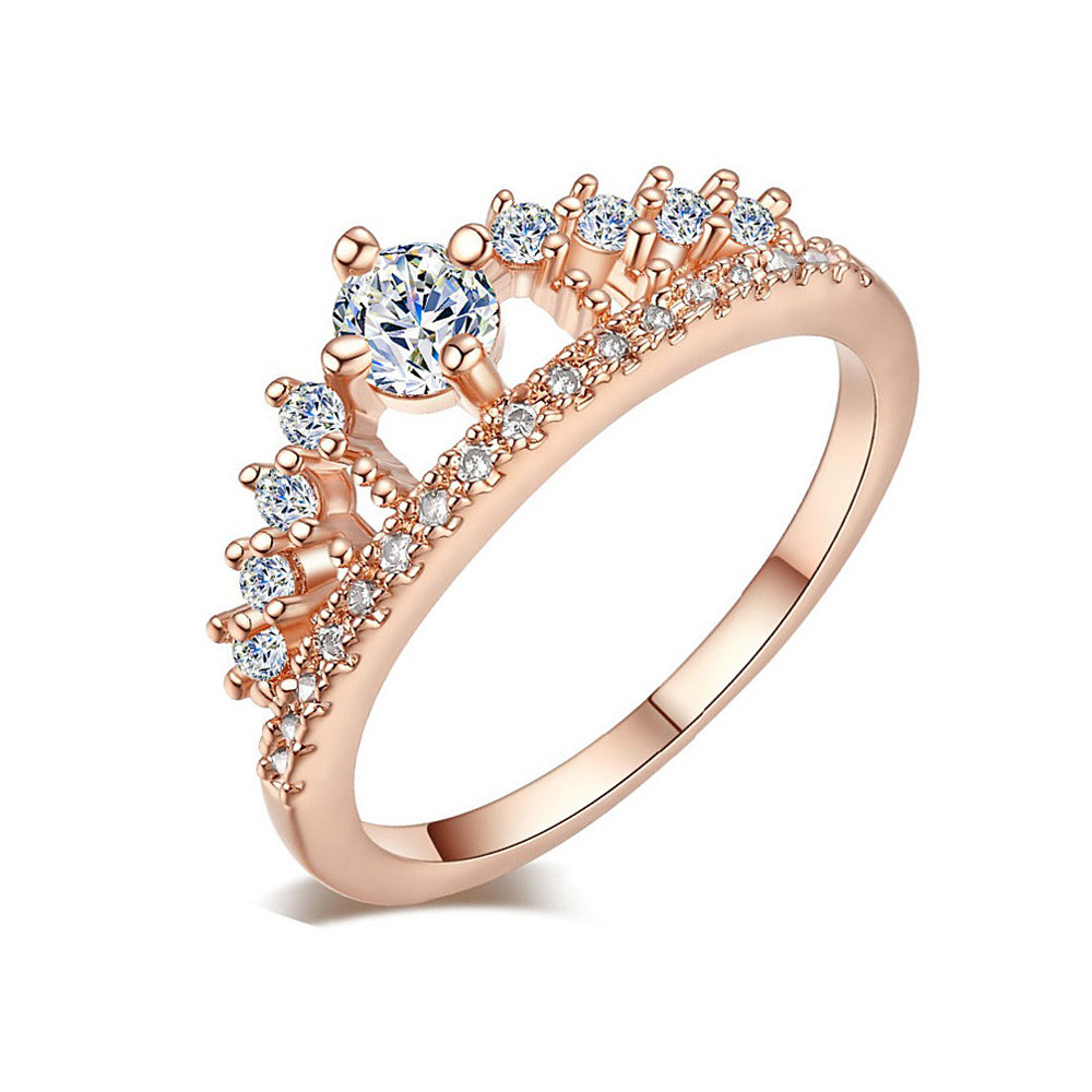 Fashion Women Princess Queen Engagement Rings with Clear Crystal Rings Silver Rose Gold Color Wedding Rings Drop Shipping