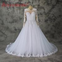 Robe de Noiva nouvelle dentelle de mariage de conception robe manches longues nu tulle robe de mariage en gros prix usine robe de mariée fait