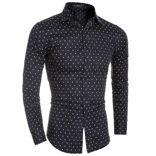 New 4 Color Fashion Tiny Planes Prints Mens Dress Shirts Long sleeve Slim Fit Casual Social Camisas Masculinas Man Chemise homme