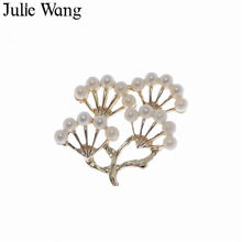 Julie Wang 3PCS Alloy Gold Pearl Branch Charms Suspension For Neckalce Pendant Earrings Findings DIY Jewelry Making Accessory(China)