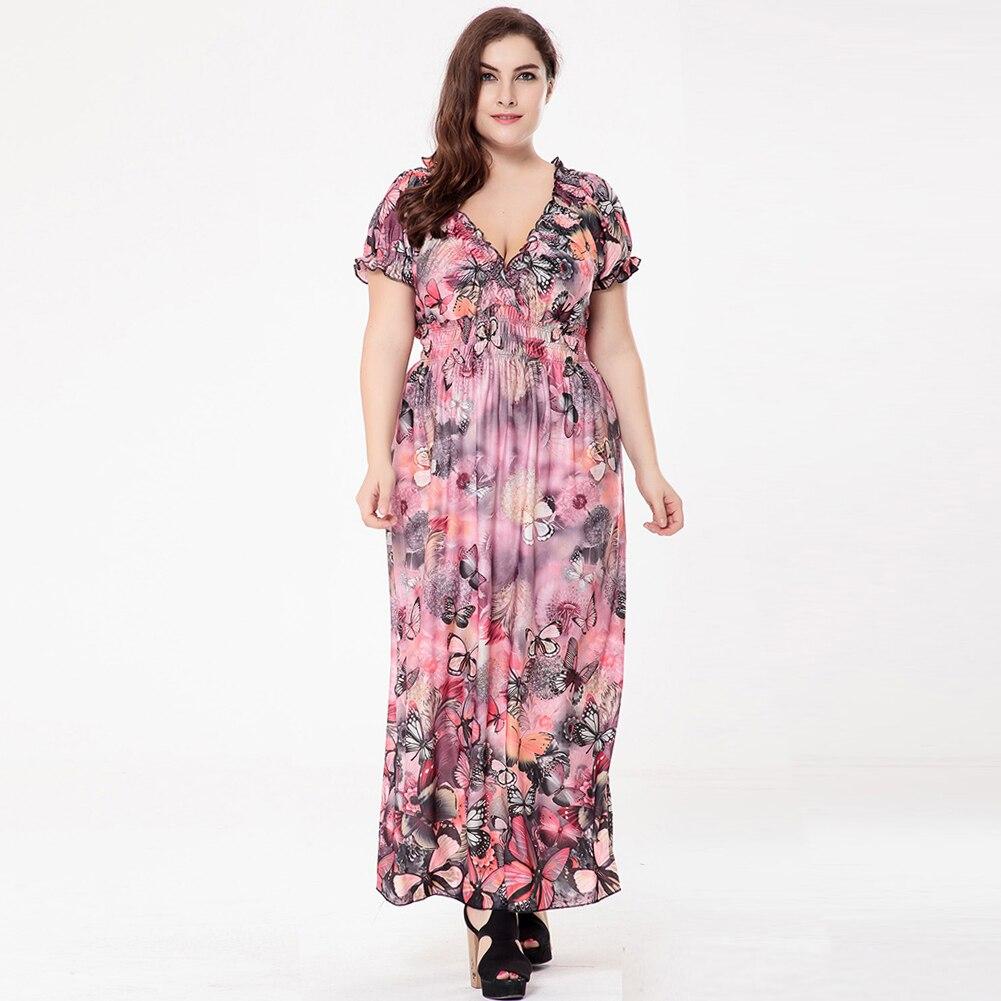 US $19.37 38% OFF New Women Plus Size Bohemian Long Dress V Neck Short  Sleeve Butterfly Casual Beach Maxi Dress Blue/Grey/Red Lady Vestidos  5XL6XL-in ...
