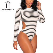HAMBELELA Women Striped Skinny Bodysuit 2017 Summer Lady Club Long Sleeve Turtleneck Cut Out Bodysuits Romper One Piece Overalls