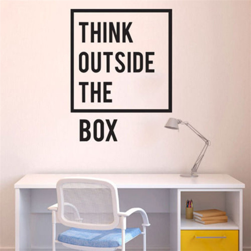T06057 Think outside the box Wall Sticker Removable Inspirational Quotes Office Wall DecalHome Decoration Mural Quotes