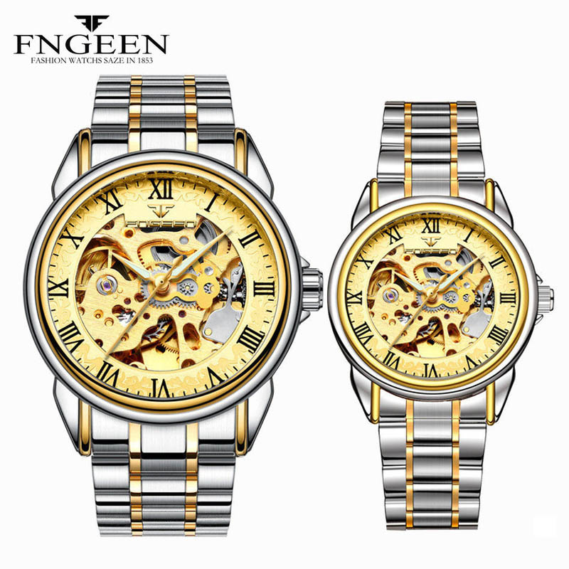 Couple Watches For Lovers FNGEEN Brand Casual Sports Military Automatic Watch Fashion Luxury 2019 Men's Watch Mechanical Watches