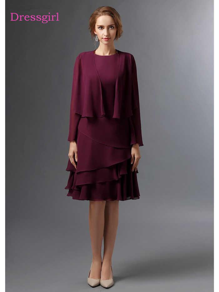 Purple 2019 Mother Of The Bride Dresses A-line Chiffon Knee Length Plus  Size Short Elegant Groom Mother Dresses Wedding
