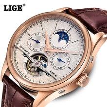 LIGE Marca Homens relógios turbilhão relógio mecânico Automático relógio Do Esporte de couro business Casual relógio de pulso de Ouro relojes hombre