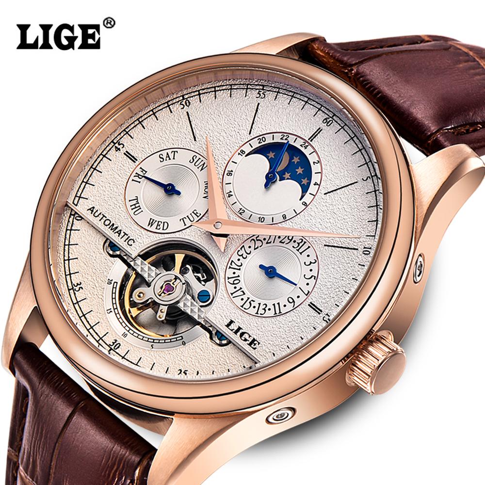 Prix pour LIGE Marque Hommes montres Automatique montre mécanique tourbillon Sport horloge en cuir montre-bracelet d'affaires Décontractée Or relojes hombre