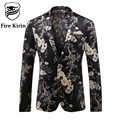 Fire Kirin Blazer Men 2017 Luxury Brand Mens Floral Print Suit Stage Clothing For Men Vintage Style Latest Coat Design Q209