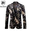 Kirin fuego Chaqueta de Los Hombres 2017 de la Marca de Lujo Para Hombre Estampado floral ropa de la etapa traje para los hombres vintage estilo último diseño de capa Q209