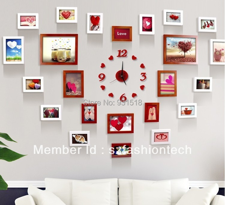 heart design 23 box solid wood photo frame combination with wall