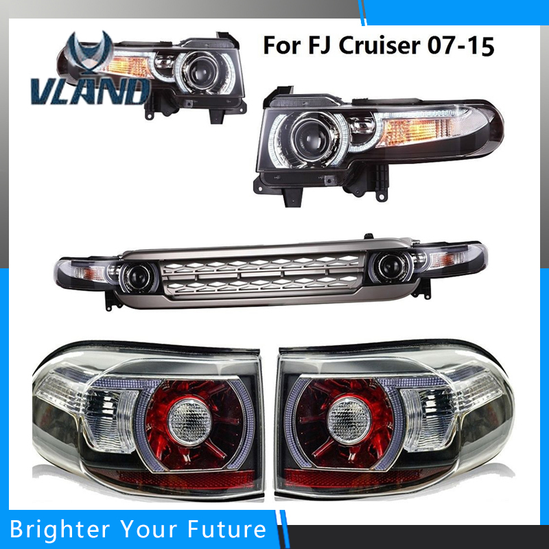 Newest LED DRL Projector Headlights s & Tail Lights & Grille s For Toyota FJ Cruiser 2007-2014 Dual Beam джинсы bikkembergs c q 61b fj s b093 033b