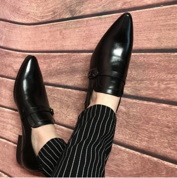 CH.KWOK Spring Autumn 2018 New Italian Leather Oxfords for Man Dress Wedding Tuxedo Oxfords Buckles Pointed Toe Slip On Shoes ch kwok crocodile leather mens dress wedding oxfords slip on male business suits tuxedo oxfords spring autumn man derby shoes