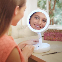 Folding Away LED Makeup Mirror Double-sided Rotation USB Lighted Vanity Decoration Mirror Touch Screen Portable Tabletop Lamp