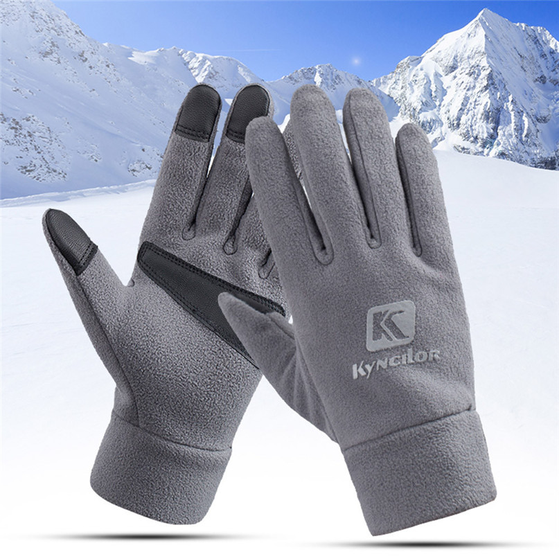 Unisex Winter Gloves Fleece Soft Comfortable Cycling Gloves Outdoor Windproof Climbing Hiking Skiing gloves Man Women #2N07 (13)