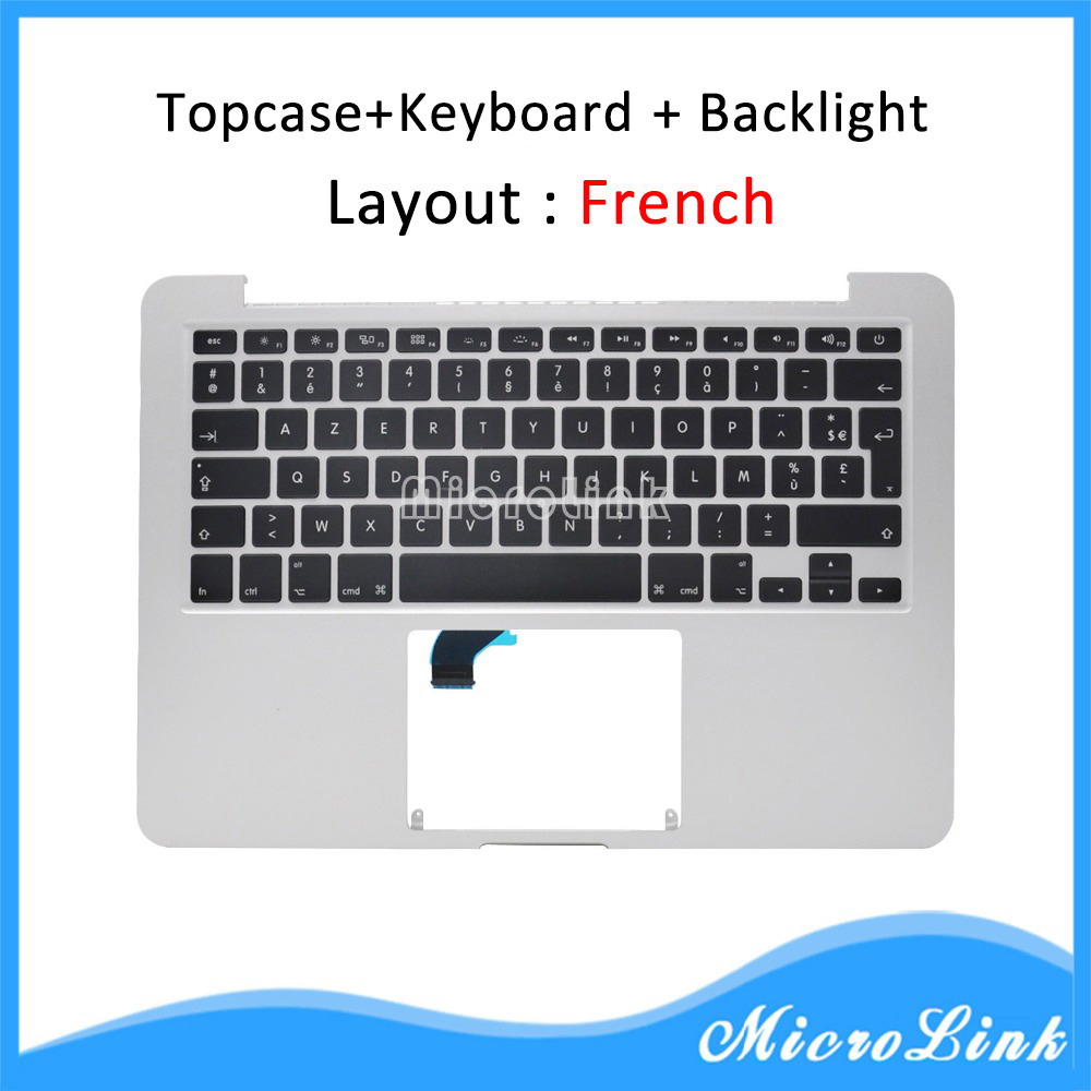 New Topcase for Macbook Pro Retina 13 A1502 top case with FR French keyboard Year 2015 new top case for macbook pro retina 13 3 2015 a1502 palmrest topcase with us keyboard backlight trackpad touchpad battery 2015