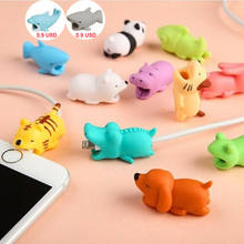 1pcs kawaii Cable Bite Animal iphone Protector Shaped Winder Dog Bite Phone Accessory Prank Toy Funny(China)