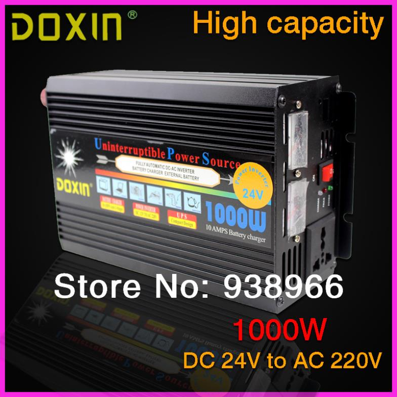 ФОТО UPS 1000W DC24V to AC220V Portable Car Power Inverter Charger Voltage Converter 24V To 220V Transformer