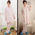 Camisón de algodón 100% tela mujeres camisones de algodón de manga larga conjunto corto más tamaño más tamaño salón de maternidad