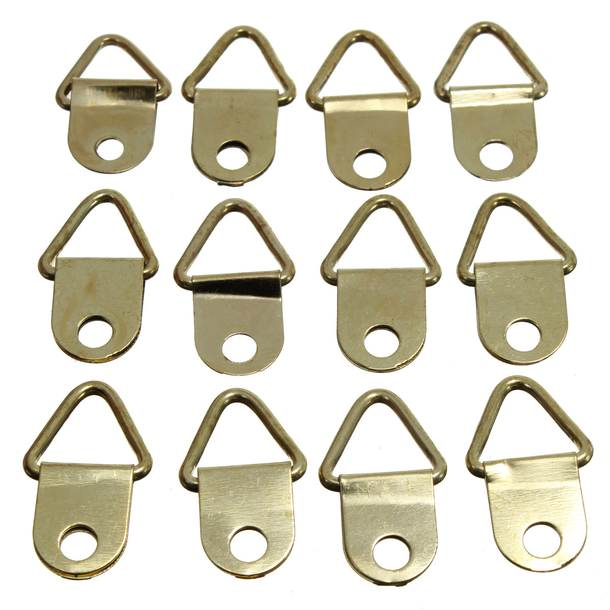 universal strong golden 50pcs d rings decor picture frames hanger hooks hanging triangle screws helper high