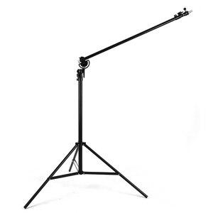 """Image 4 - Soporte de luz 2 en 1 de 126 """"y 320cm, brazo de soporte, soporte de luz de brazo de trípode ajustable de aluminio giratorio con bolsa de arena para fotografía de estudio"""