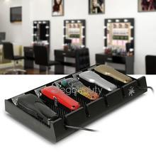 Segbeauty Salon Barber Clipper Tablett Schwarz Clippers Organizer Fall mit 5 Kerben Zubehör Anti slip Friseur Werkzeuge Box