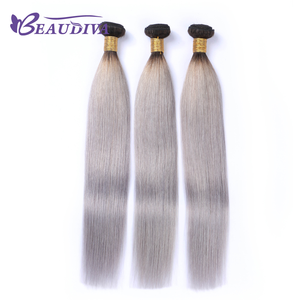 BEAUDIVA Pre-Colored T1B/ Grey Color Brazilia Remy Human Hair Weave 3 Bundles Ombre Human Hair Extensions 100g