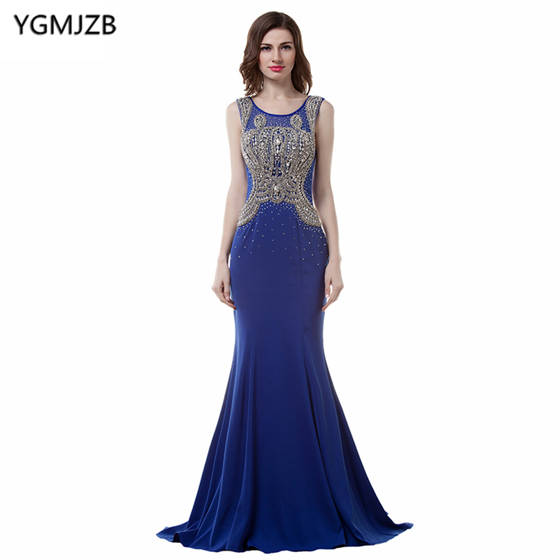 Long   Evening     Dresses   2019 Mermaid Scoop Sheer Back Stunning Beaded Crystal Chiffon Royal Blue African Formal Prom   Evening   Gown