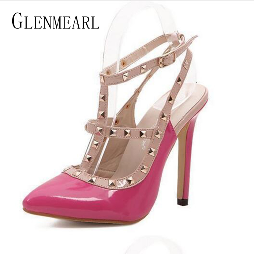 2017 Summer Sexy High Heel Women's Sandals Shoes Rivets Pointed Thin Heel Sandals Pumps For Females Wedding Sandals Plus Size40 females shoes women sandals fashion shoes