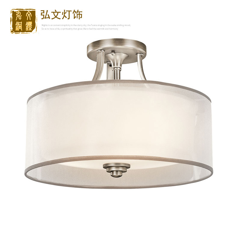 Lights & Lighting Ceiling Lights American Ceiling Lamp Round New Chinese Simple European Living Room Fabric Bedroom Lamp Wrought Iron Porch Study Lamp Lovely Luster