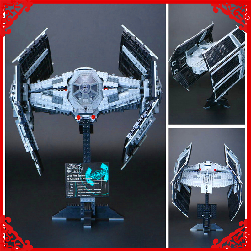 LEPIN 05055 Star Wars Vader TIE Advanced Fighter Building Block 1212Pcs Educational  Toys For Children Compatible Legoe 2017 new 1242pcs 05055 lepin star wars vader s tie advanced fighter model building kit figures blocks brick toy compatible 10175