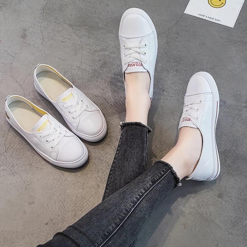 Женская обувь на плоской подошве DONGNANFENG, белая повседневная обувь из искусственной кожи на вулканизированной подошве со шнуровкой в Корейс...