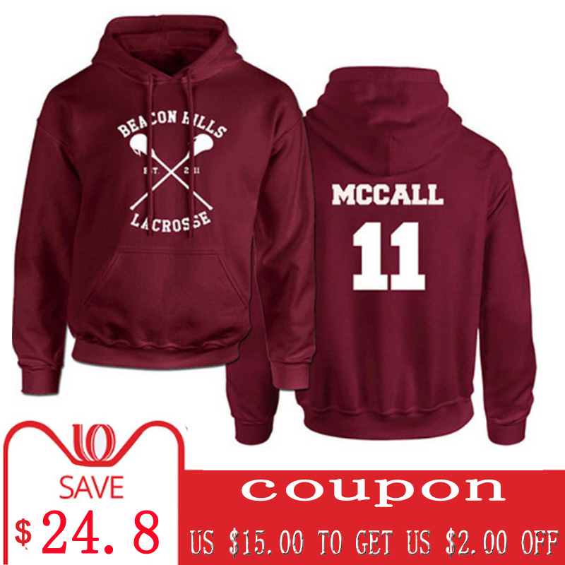Allntrends Mens T Shirt Beacon Hills Lacrosse Player Name Number Maroon Color