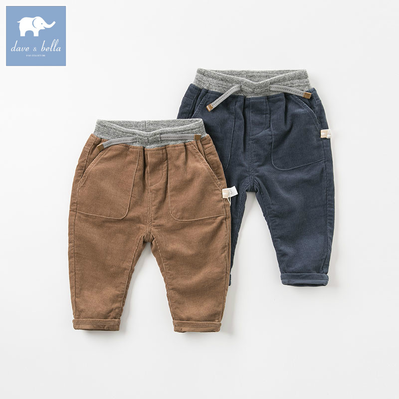 DB8539 dave bella autumn baby boys fashion pants children full length kids pants infant toddler trousers