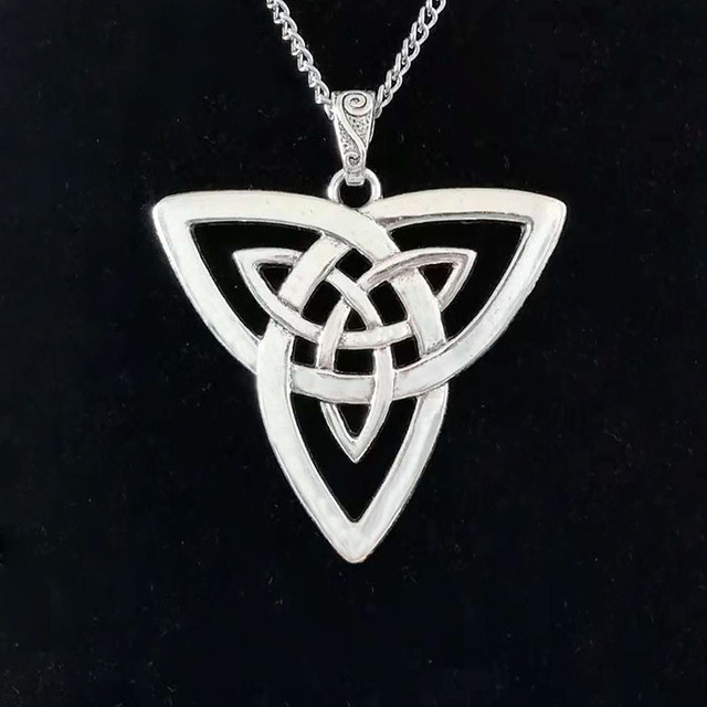 """Large Silver Statement Abstract Metal Celtics Knot Trinity Triquetra Pendant on Long Curb Chain Necklace Lagenlook 34"""" 1"""