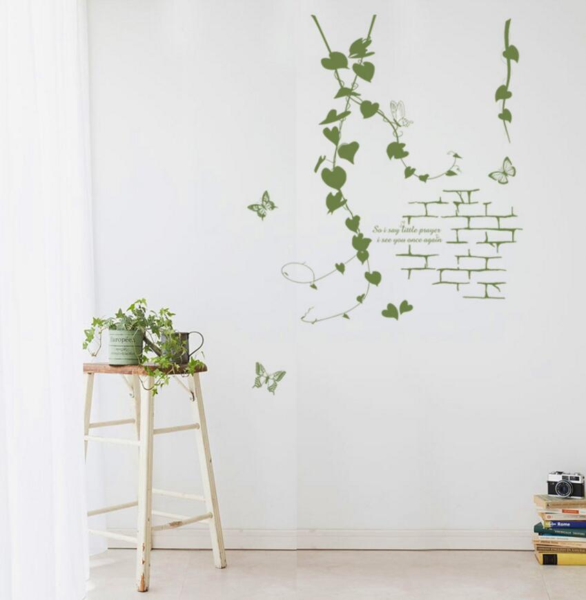 Delicate Parlor Art Korean Modern Living Room Green Rattan Vines Butterfly PVC Decorative Wall Sticker Simple Aesthetic Decor image