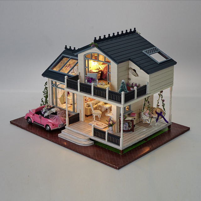 Diy Doll House PROVENCE Miniature Wooden Building Model Dollhouse Furniture Model Toys For Children Brithday Gift