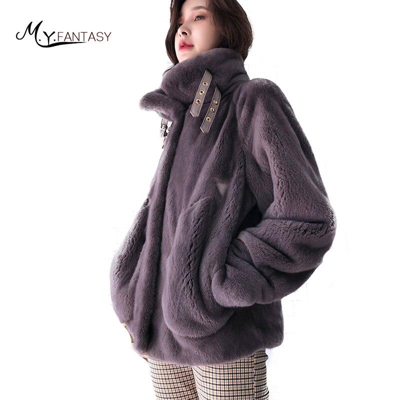 М. y. FANSTY 2018 зимние гладкие норковая шуба натуральный мех пальто потери повседневные воротник-стойка средний тонкий мото норки пальто