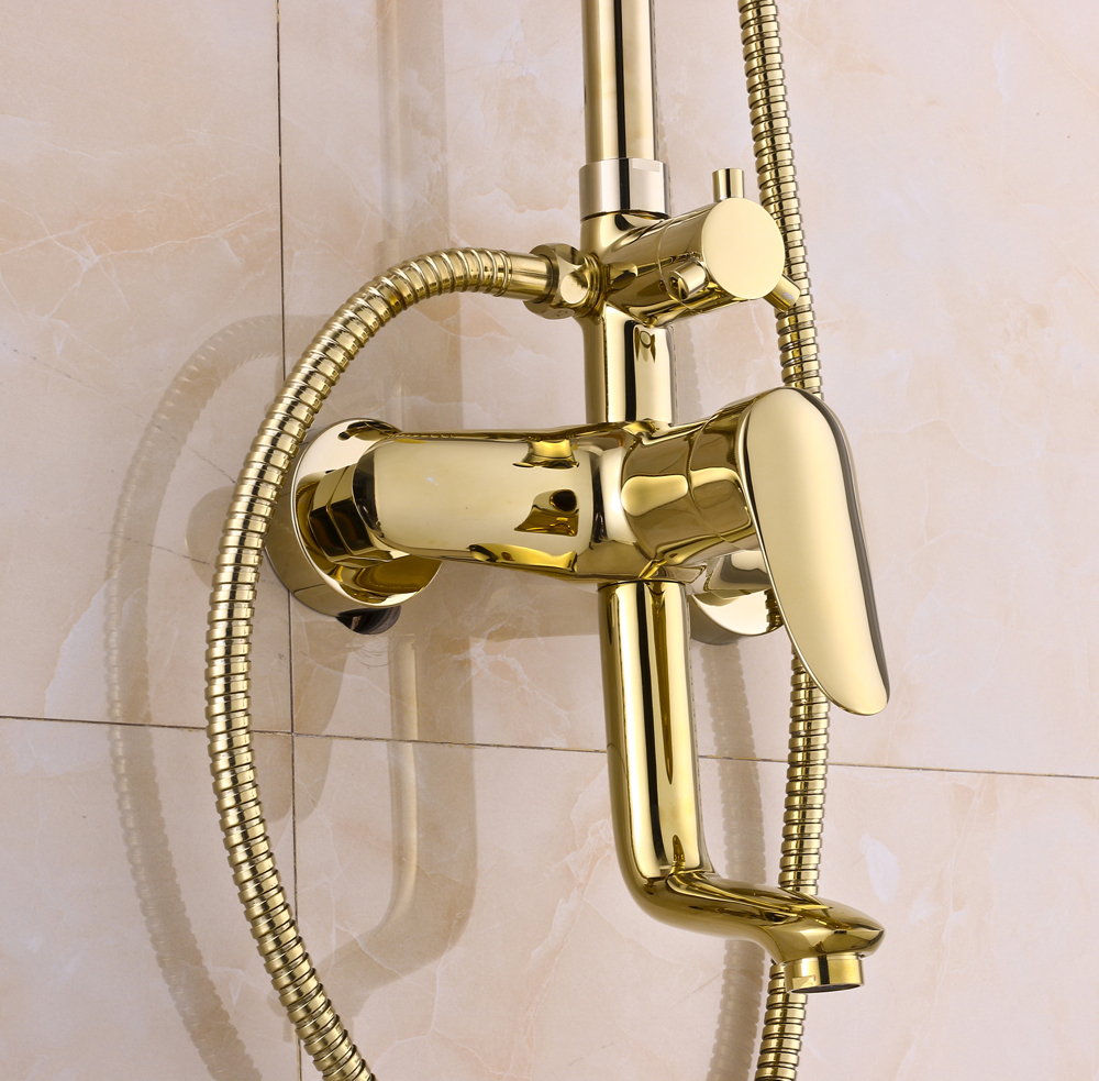 Aliexpresscom  Buy Rainfall Gold Brass Shower Faucet Set  Inch - Hand held shower faucet attachment