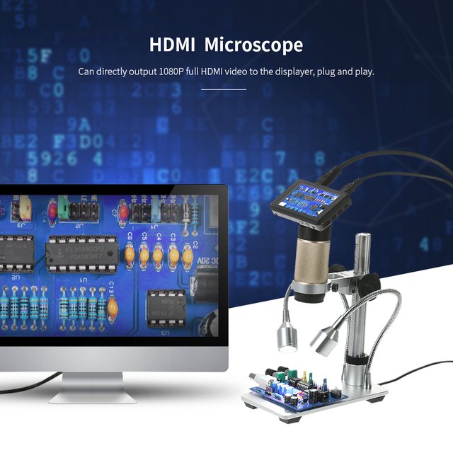 300X HDMI 3.0MP Electronic Digital Video Microscope 1080P Soldering Microscope USB Output Portable LED Magnifier for Mobile