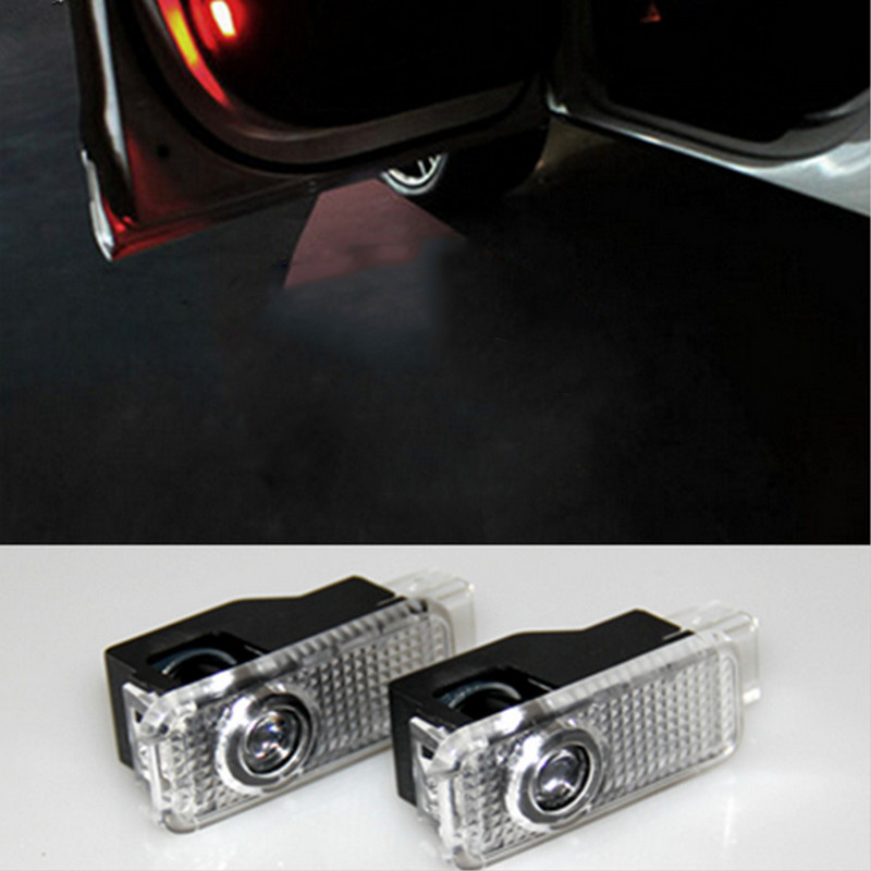 2pcs LED Car door welcome light courtesy led car laser projector Logo Ghost Shadow Light For Audi Logo power Light jurus led car door logo interior light ghost shadow welcome light laset wireless projector for toyota for vw for ford hot sale