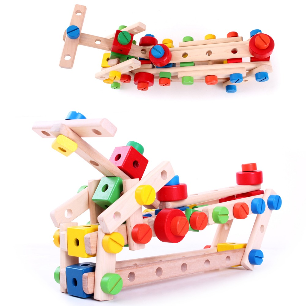 MamimamiHome Baby Building Blocks Toys Child Nut Combination Disassembly Simulation Repair Montessori Wooden Toys Building Block lot variety versatile building blocks nut combination disassembly assembling toys for children