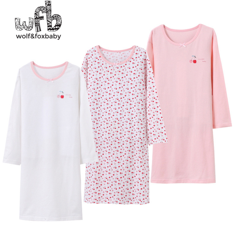 Retail 3-14 Years Long-sleeves Cotton Children's Home Wear Nightdress Girl Baby Pajamas Autumn Fall Spring Print Cherry
