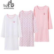 Varejo 3-14 anos de algodão de mangas compridas roupa de casa das crianças camisola menina pijamas do bebê outono outono primavera impressão cereja