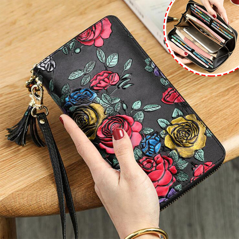 Genuine Leather Wallet Women Clutch 2020 New 3D Rose Flower Wallets Female Purse Long Zipper Portfel Damski Portfele Women Walet