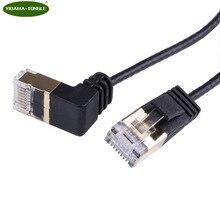 Cable Ethernet CAT6 RJ45, Cable de conexión de red, acodado para PC, PS4, Xbox, Router, negro, dorado, chapado, RJ45, 8P8C, 2,0 m