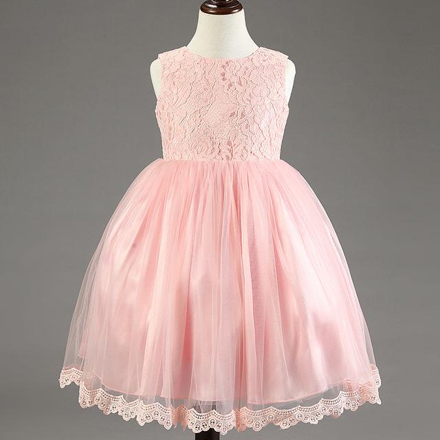 2015 nuevos vestidos de bola para las muchachas para la boda flores niña traje de la princesa kids party vestidos para las niñas 1 años de cumpleaños cabritos del vestido