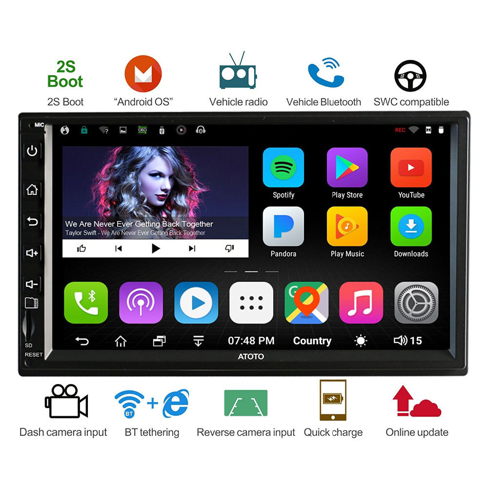 ATOTO A6 Doppel din Android Auto GPS-Navigation Stereo Player/Dual Bluetooth/A62710SB 1g/16g auto Unterhaltung Multimedia Radio