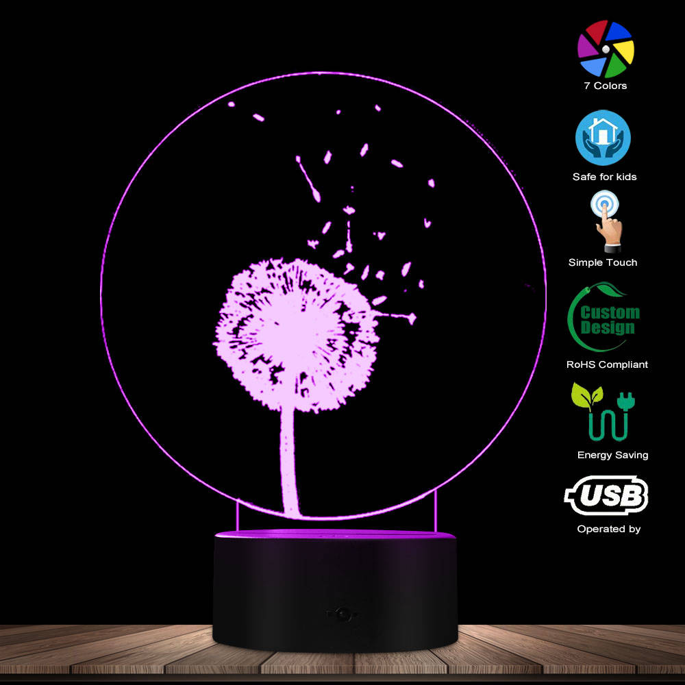 The Dandelion Switch LED Optical Illusion Night Light Home Decor Atmosphere LED Color Changing Visual Lamp Colorful Gradient