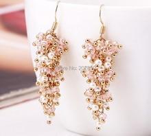 2019 new type trendy women /girls pearl earring & gold-color pink crystal white pearl long dangle drop earrings fine quality