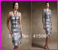 vestido de madrinha Silver Beaded Short Sheath mother of the bride dresses With Lace Jacket 2019 evening dress for weddings